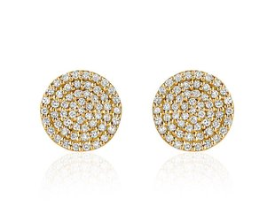 Liven Pave Diamond Gold Disc Stud Earrings LN53