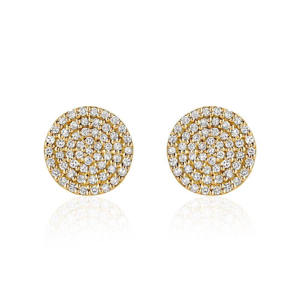 Liven Pave Diamond Gold Disc Stud Earrings