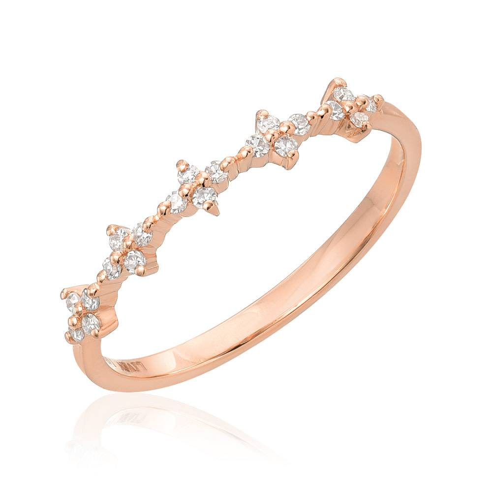 Liven Spaced Floral Dia Rose Gold Half Band