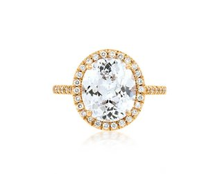 Trabert Goldsmiths 3.56ct White Sapphire Oval Goddess Ring E1751