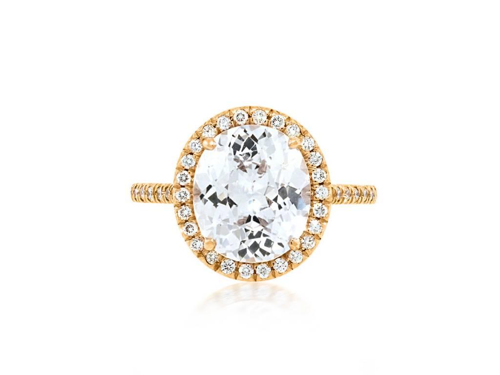 Trabert Goldsmiths 3.56ct White Sapphire Oval Goddess Ring