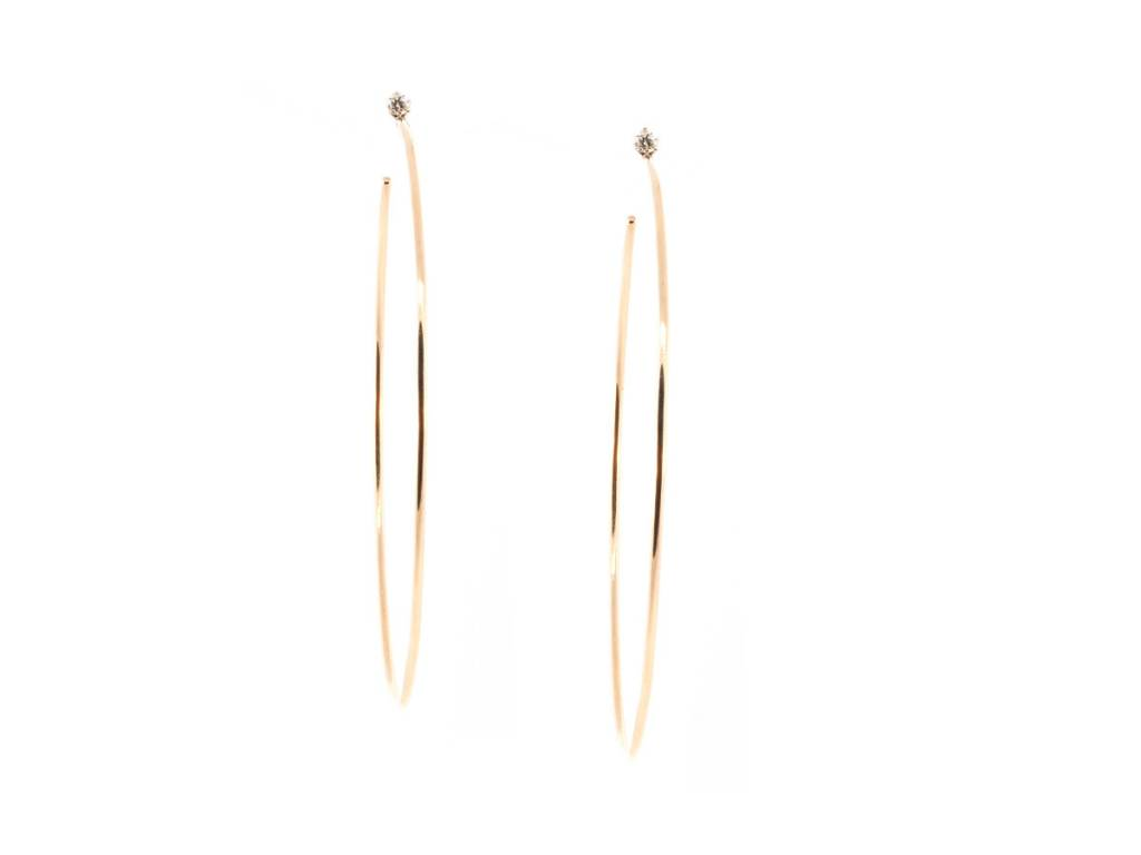 Liven Single Diamond Rose Gold Hoop Earrings