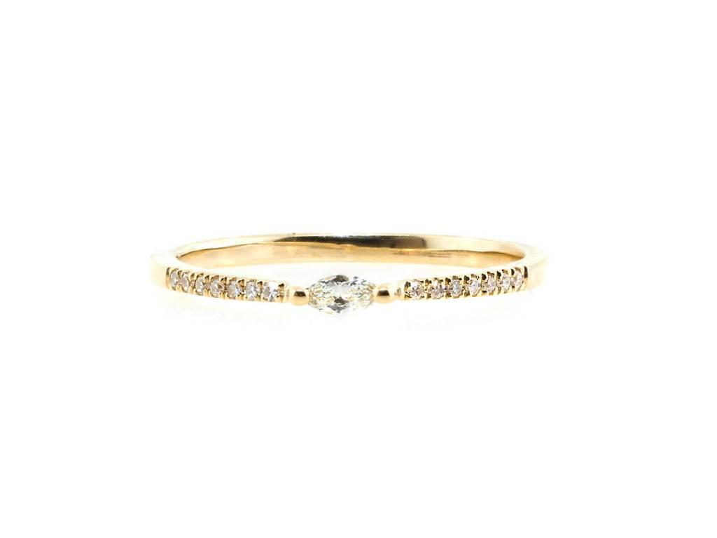 Liven Petite Marquise Pave Diamond Yellow Gold Ring