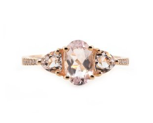 Liven Three Stone Morganite and Pave Ring LN70