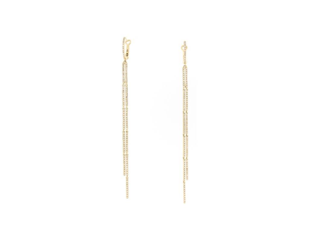 Luvente Long Double Pave Diamond Strand Earrings