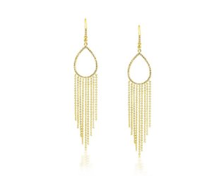 Liven Long Gold and Diamond Fringe Earrings LN39