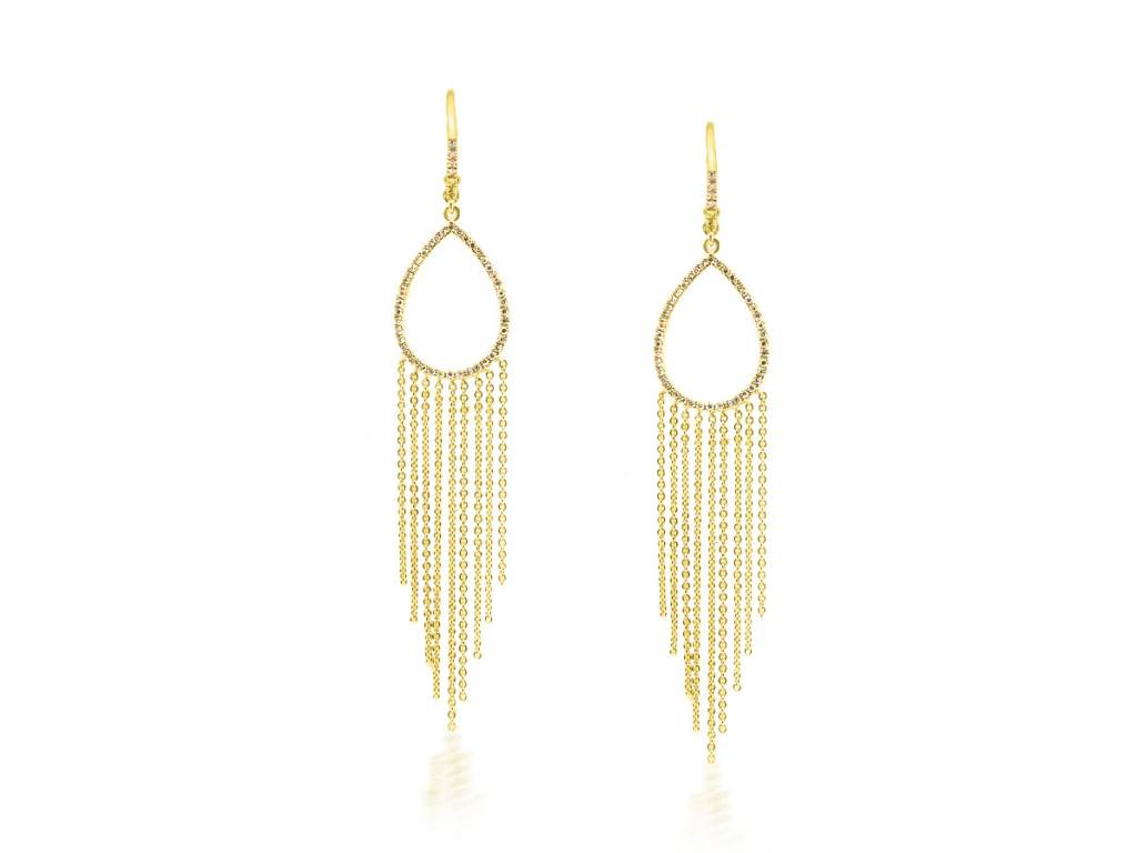 Liven Long Gold and Diamond Fringe Earrings