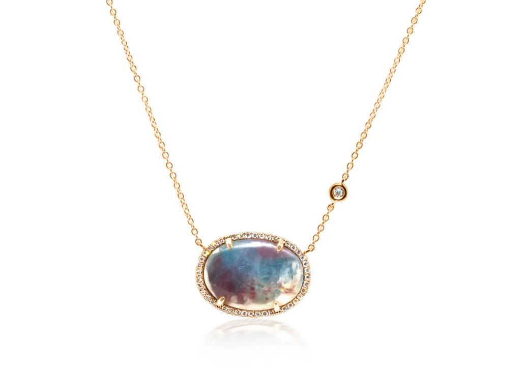 Liven Oval Paraiba Tourmaline Dia Necklace