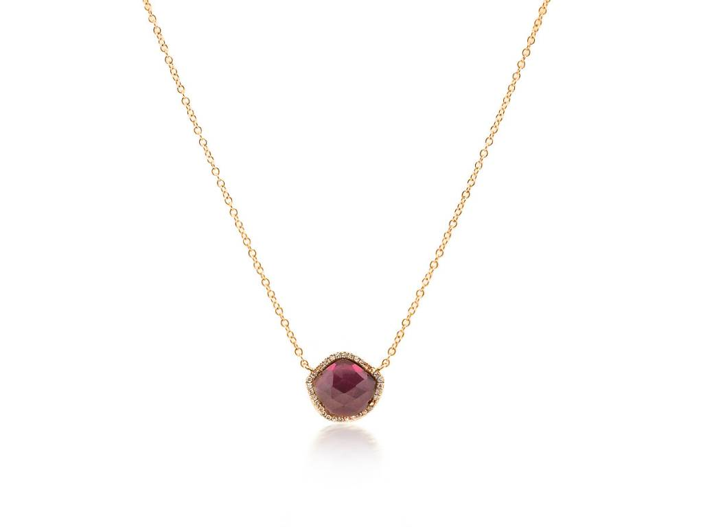 Rose cut garnet and diamond necklace ln55 trabert goldsmiths liven rose cut garnet and diamond necklace aloadofball Images