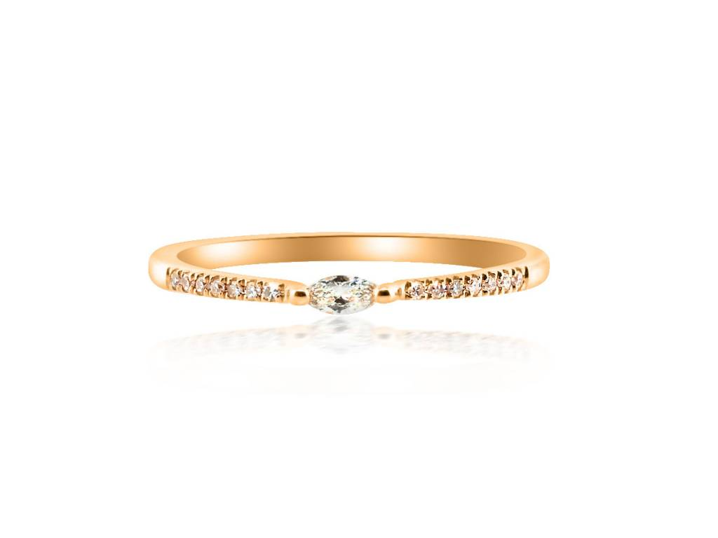 Liven Petite Marquise Diamond Pave Rose Gold Ring
