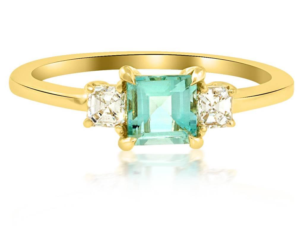 Trabert Goldsmiths 3 Stone Green Aquamarine and Diamond Ring
