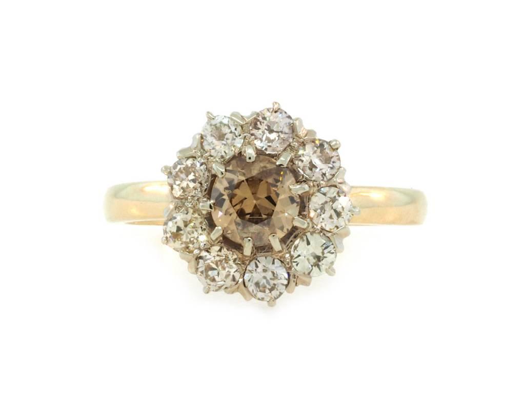 Trabert Goldsmiths Antique Champagne Diamond Cluster Ring E1755