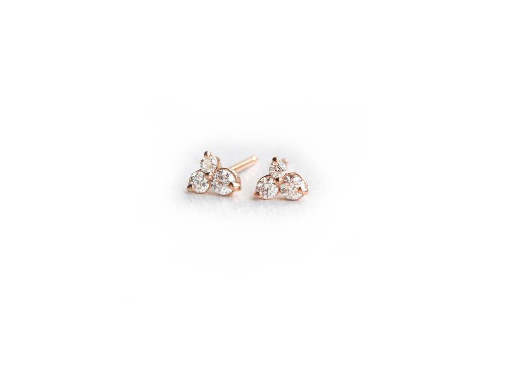 Melanie Casey Diamond Seedling Rose Gold Studs