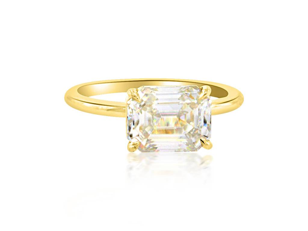 Trabert Goldsmiths 2.35ct Emerald Cut Moissanite Aura Ring