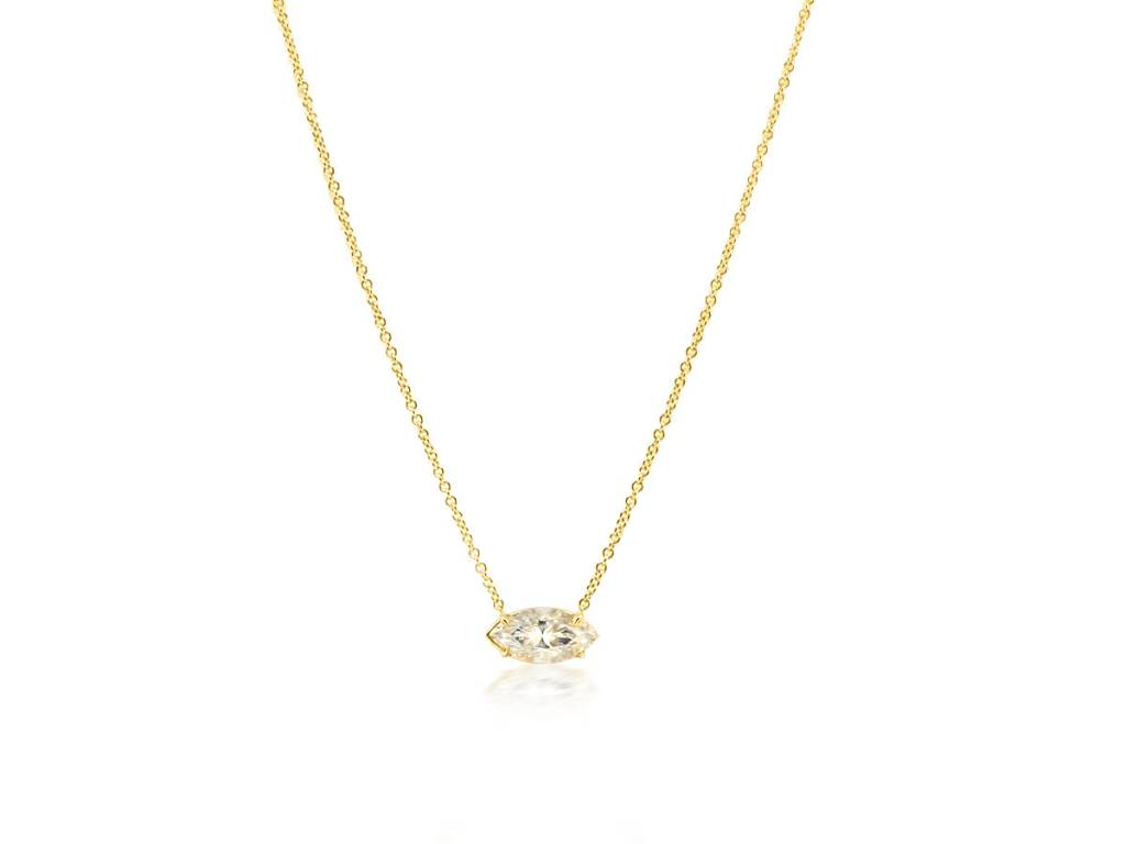 Trabert Goldsmiths Marquise Cut Moissanite Necklace