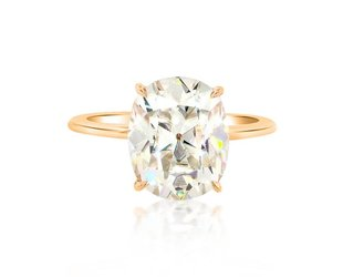 Trabert Goldsmiths 4.05ct Cush Cut Moissanite Aura Ring E1764