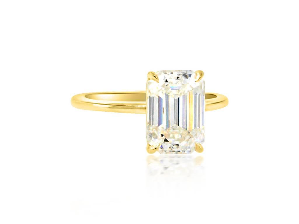 Trabert Goldsmiths 2.83ct Emerald Cut Moissanite Aura Ring