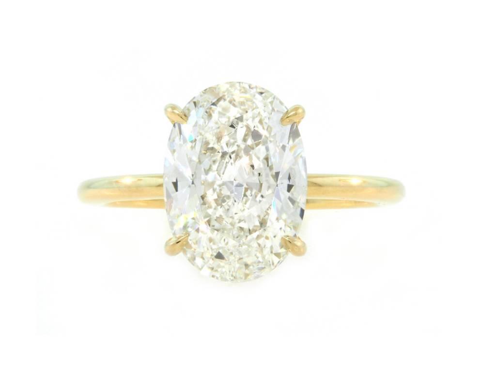 Trabert Goldsmiths 3.21ct IVS2 Oval Diamond Aura Ring