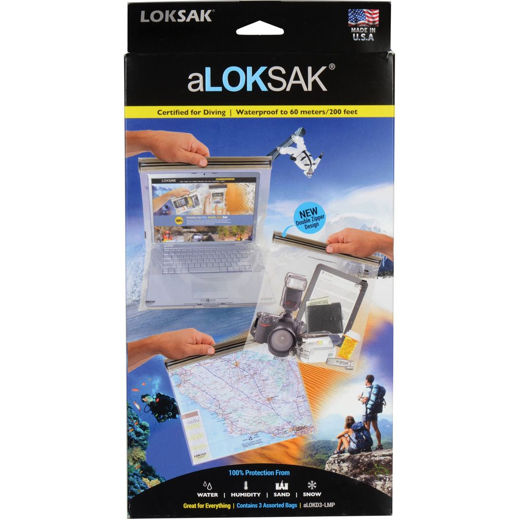 ALOKSAK ALOKSAK WATERPROOF BAG MULTI PACKS SIZE LMP-1EACH OF 12X12 13X11 16X24 (3 TOTAL)