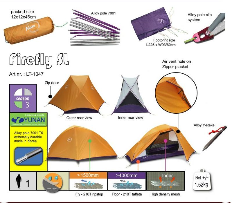 LUXE LUXE FIREFLY SL 1 Person Tent