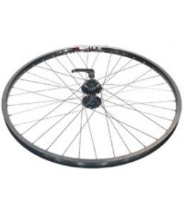 Alex Alex Wheel Front Disc DM18 Eyeleted MSW 36h 6 Bolt Disc Black Hub Silver Spokes