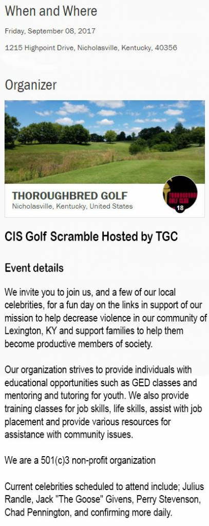 CIS Golf Scramble