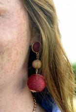 Judson & Company Woven Crimson Dot Earring