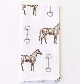 Pomegranate Horse & Snaffle Tea Towel
