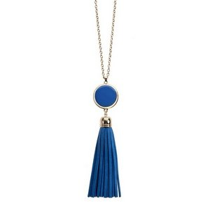 Gold Necklace w/ Faux Leather Tassel