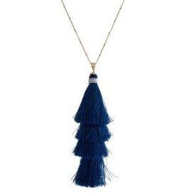 Blue Tassel Necklace