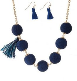 Woven Dot Necklace w/ Matching Earrings - Blue