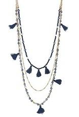 Tassel Necklace - Gold/Blue