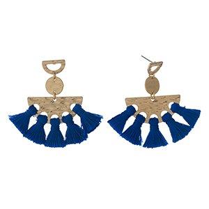 Gold & Blue Fan Earring