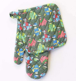 Pomegranate Vintage Racing Silks Oven Mitt & Pot Holder Set