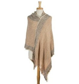 Tan & Grey Tassel Poncho