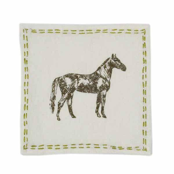 Pomegranate Thoroughbred Linen Cocktail Napkin (Set of 4)