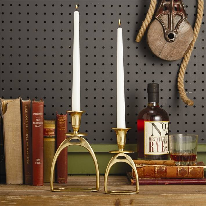 Small Gold Antique Stirrup Candle Holder