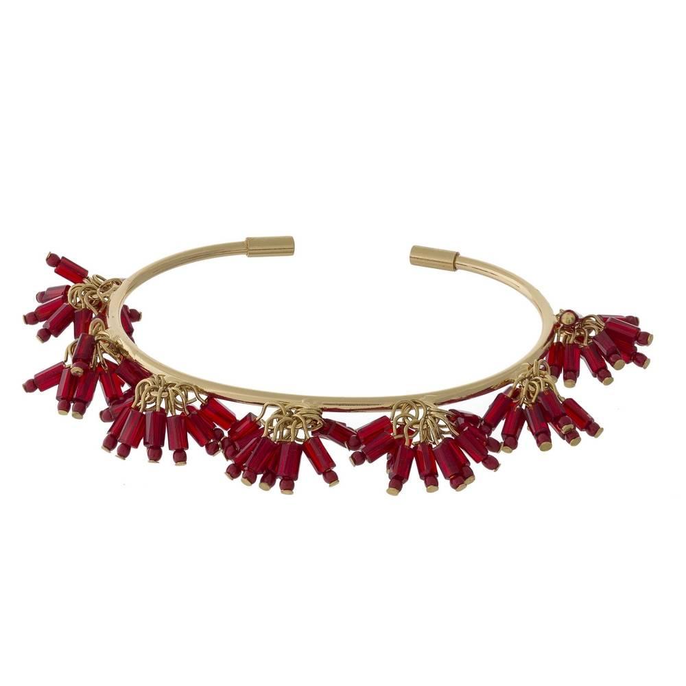 Judson & Company Maroon Beaded Tassel Bracelet