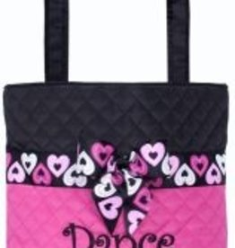 SASSI Quilted tote with Heart Ribbon Trim