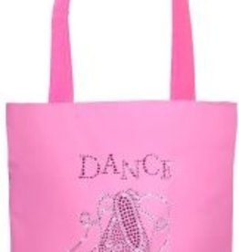 SASSI Ballet Shoes n Ribbons Tote in Crystal and Pink Rhinestones