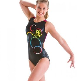MOTIONWEAR GYM OPEN BACK V STRAP LEOTARD WITH PRINT