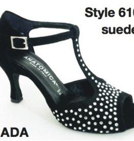 ANATOMICA JADA BLACK SUEDE/SPARKLE 3''