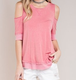 Mineral wash Open Shoulder Tee Top