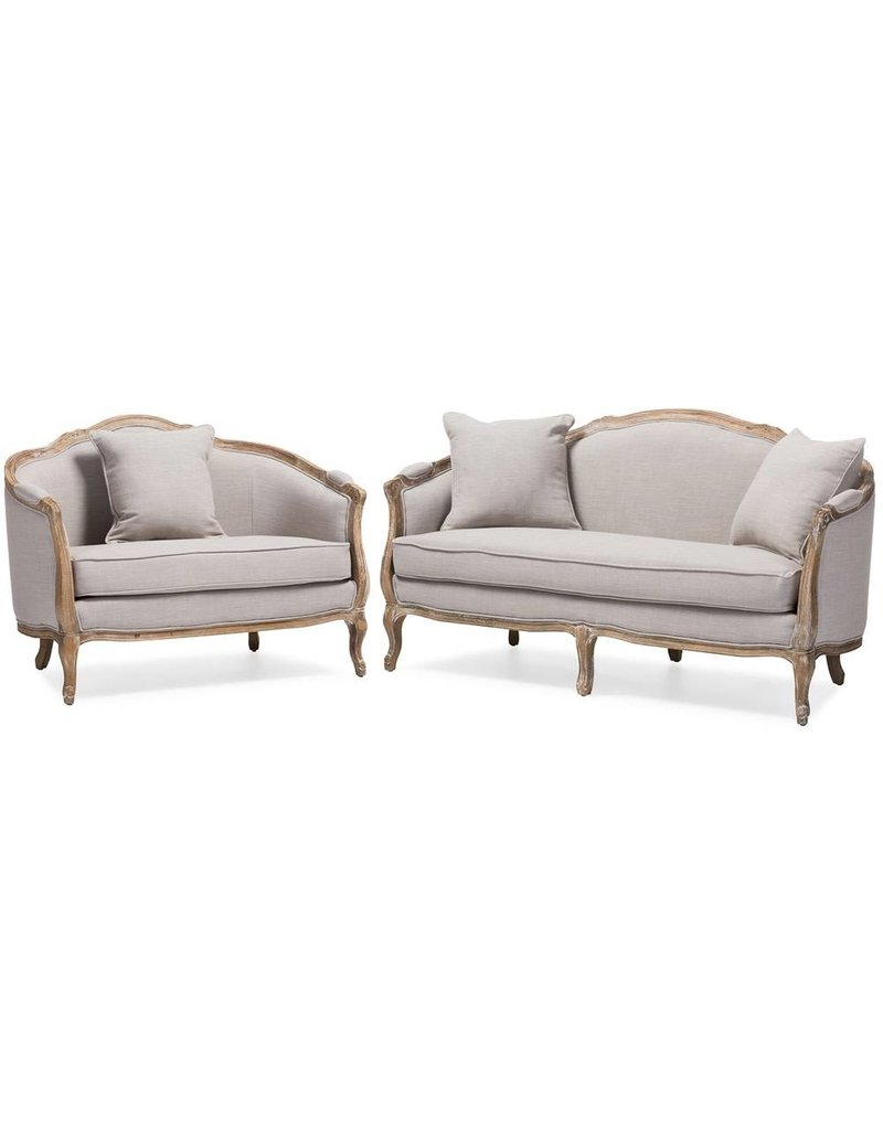 Exceptionnel Chantal French Country White Wash Weathered Oak Sofa 2 PC Set ...