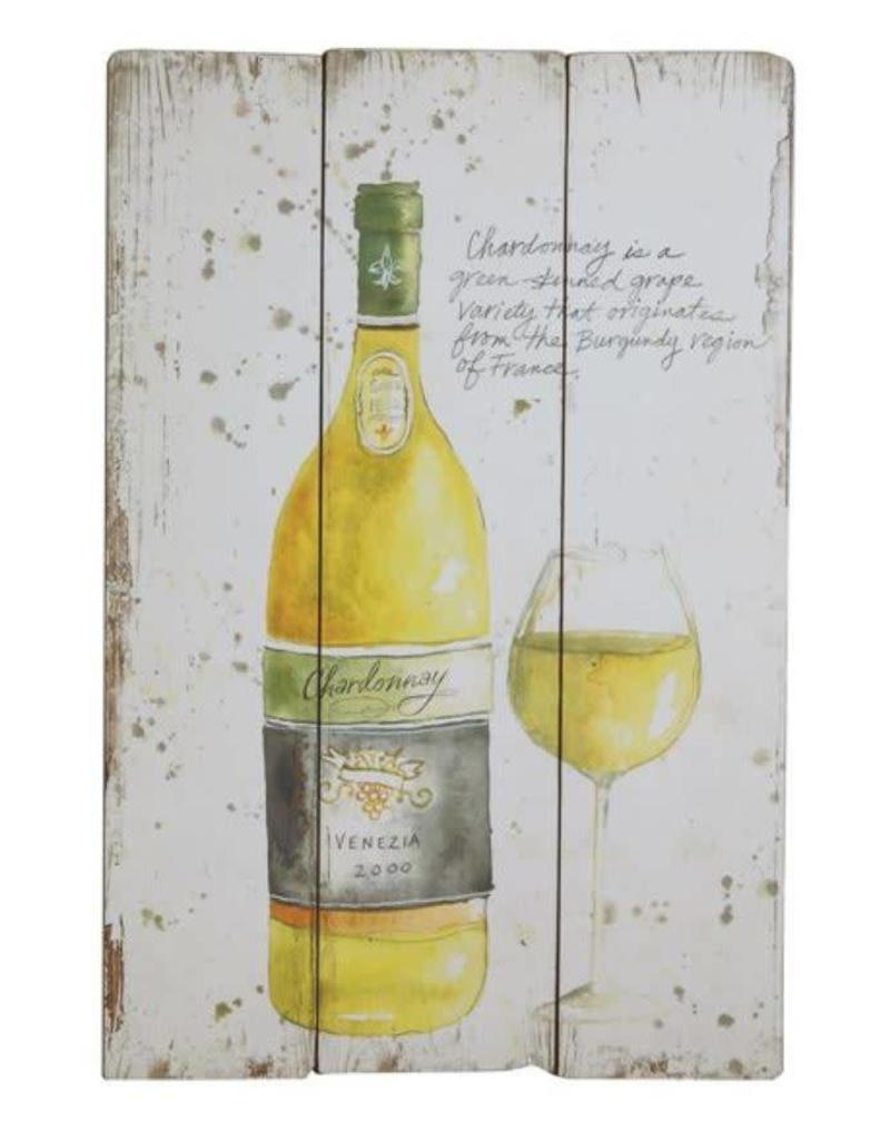 Wine MDF Wall Decor White DA8465A - Dirt Road Rustics