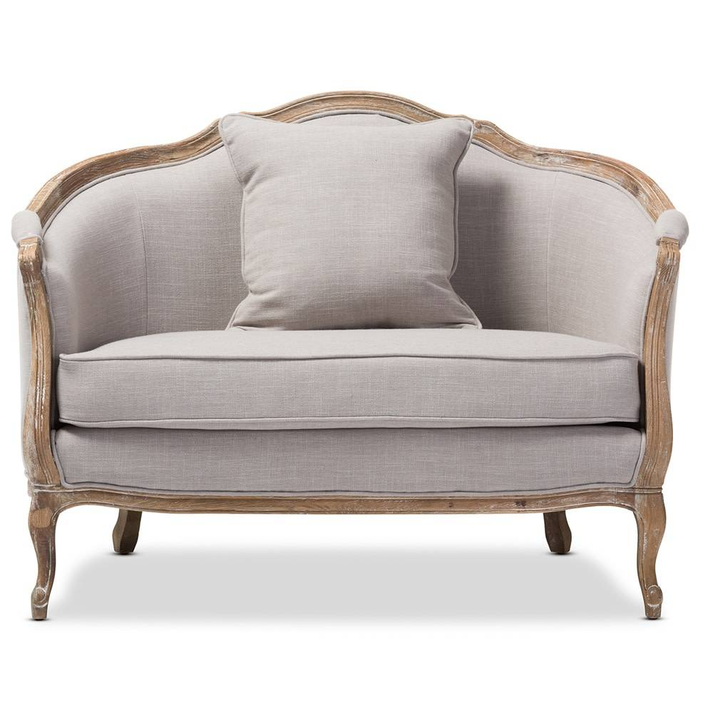 Chantal French Country White Wash Weathered Oak Sofa 2 PC Set