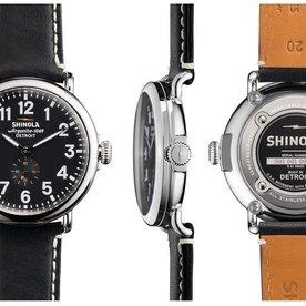 Shinola Runwell 41mm, Black Leather Strap