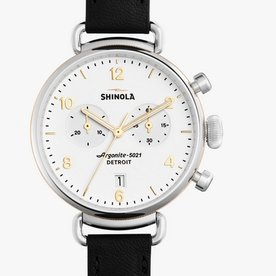 Shinola Canfield Chrono 38mm, Black Leather Strap