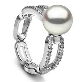 White Gold Diamond Pearl Ring