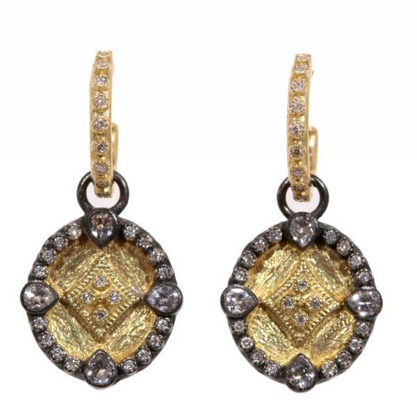 Armenta EARRING Size 0 MN oval shield drop earring on yg huggie with diamonds.